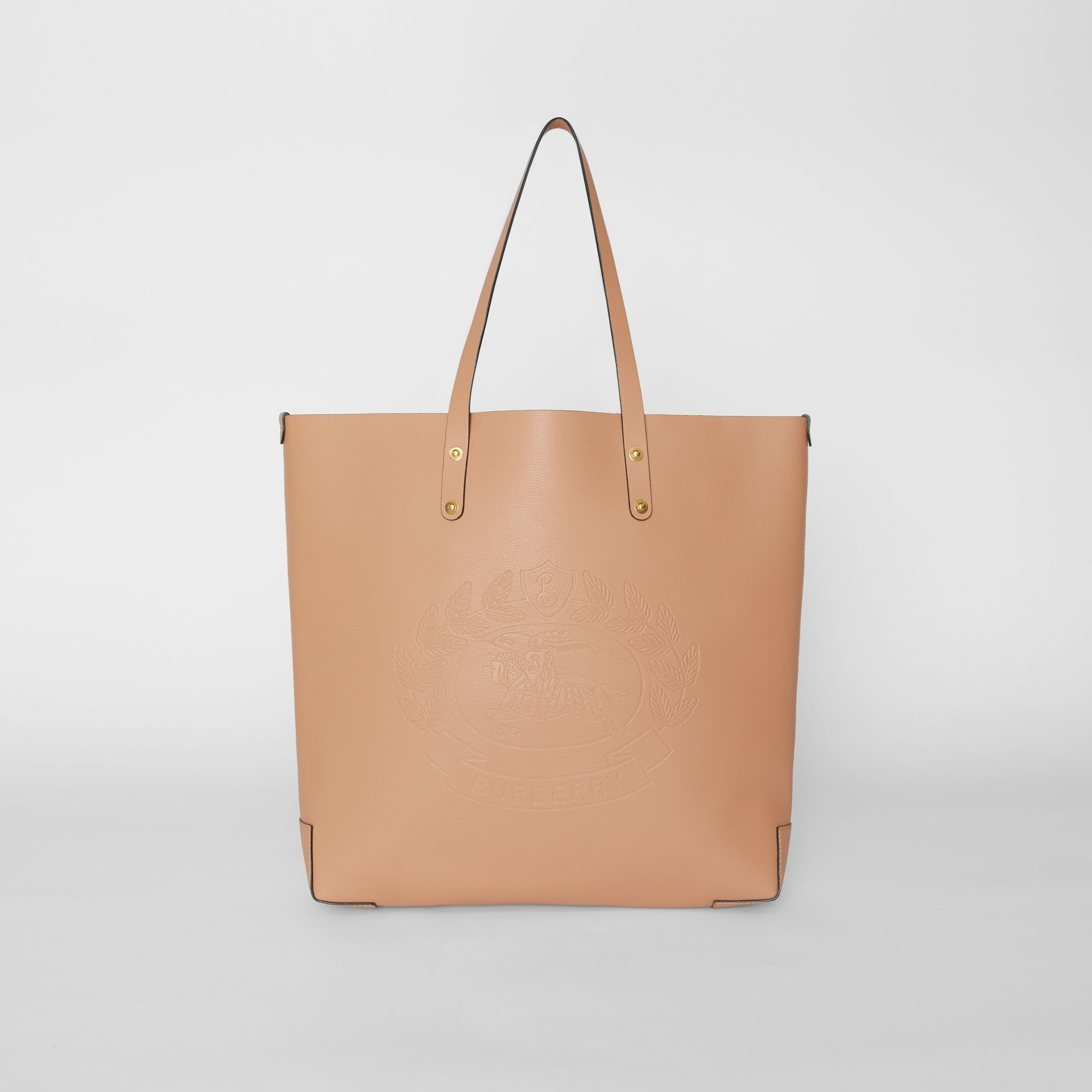 Large Embossed Crest Leather Tote in Light Camel - Women | Burberry - gallery image 0