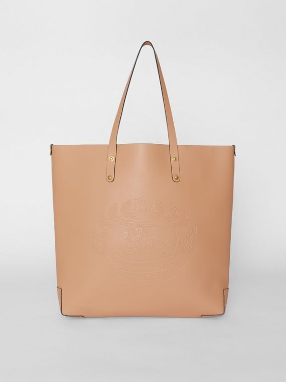 Large Embossed Crest Leather Tote in Light Camel