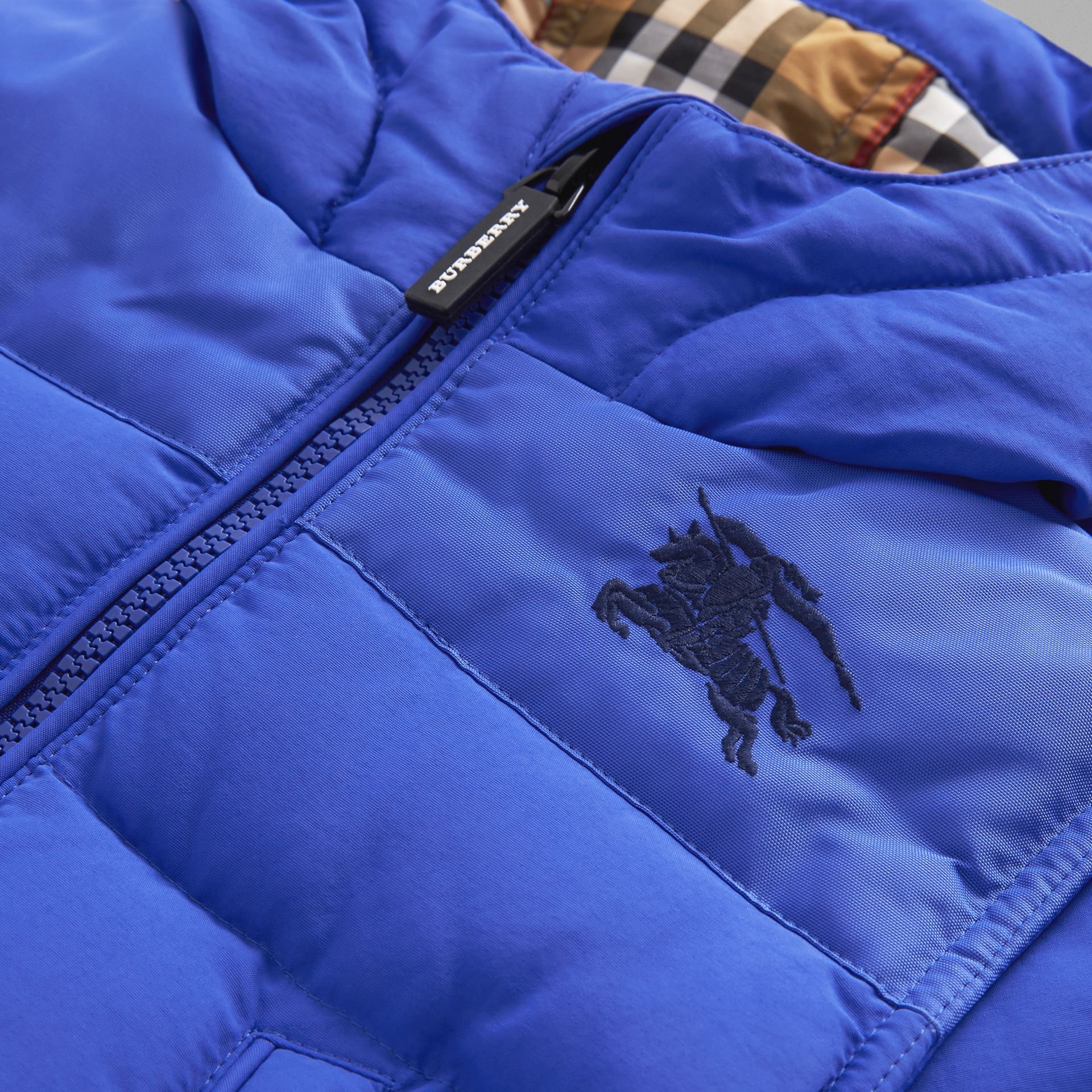 Down-filled Hooded Puffer Jacket in Royal Blue - Children | Burberry Australia - gallery image 1