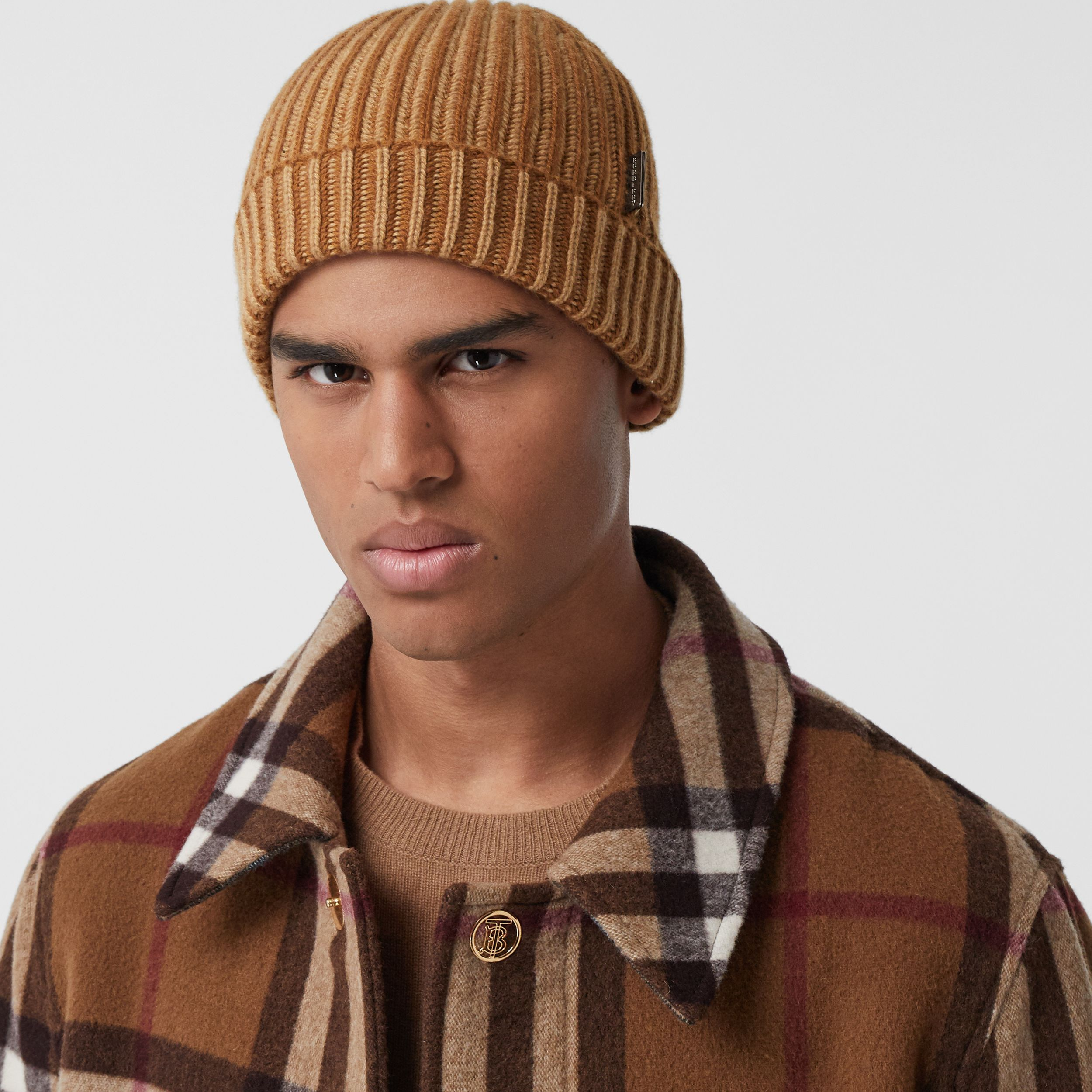 Rib Knit Cashmere Beanie in Camel | Burberry Canada - 4