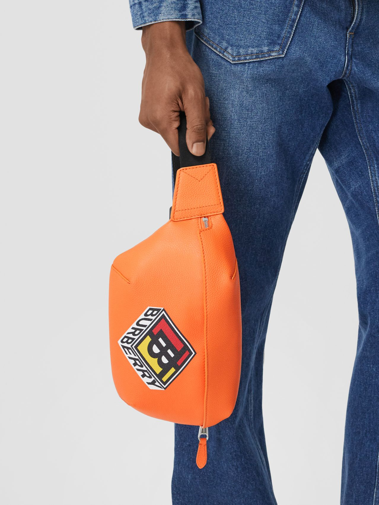 Logo Graphic Grainy Leather Sonny Bum Bag in Bright Orange