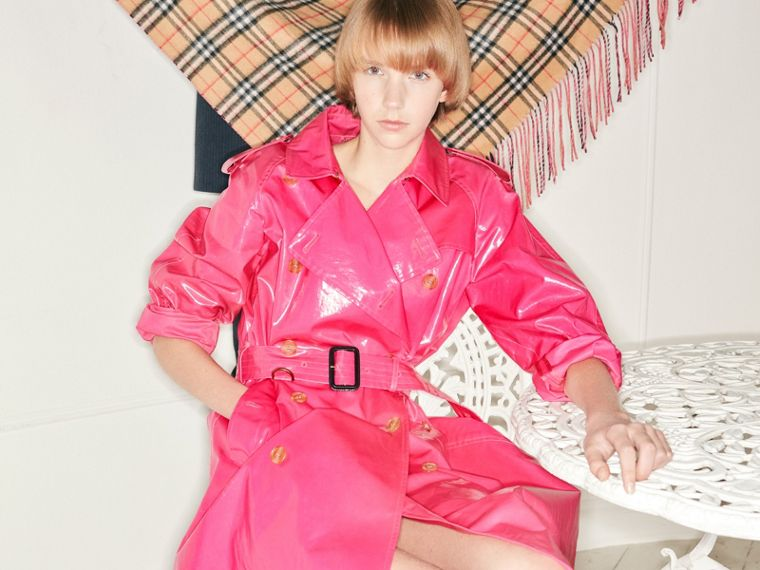 Laminated Cotton Trench Coat in Neon Pink - Women | Burberry United States - cell image 4