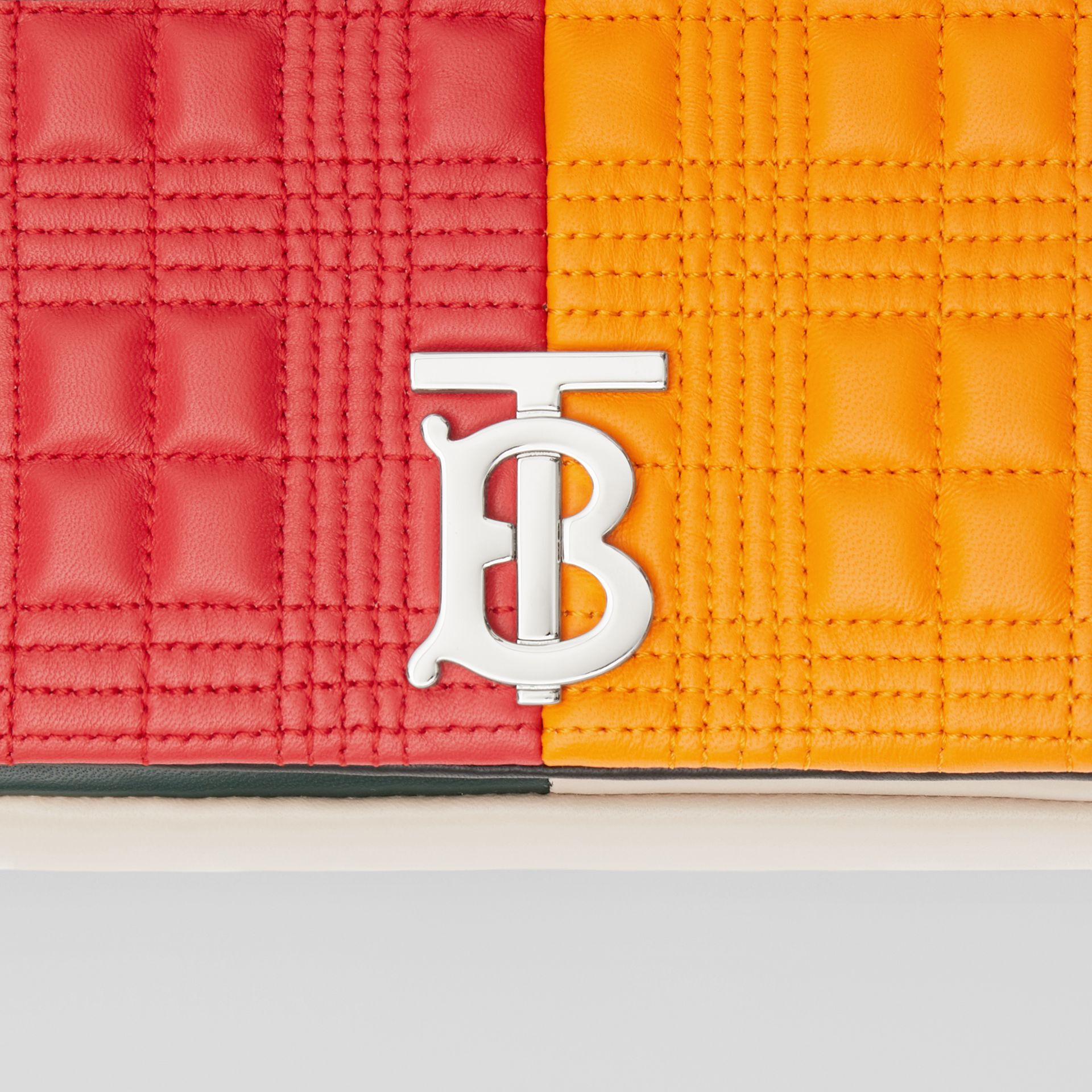 Small Quilted Check Colour Block Lambskin Lola Bag in Bright Red/orange - Women | Burberry - gallery image 1