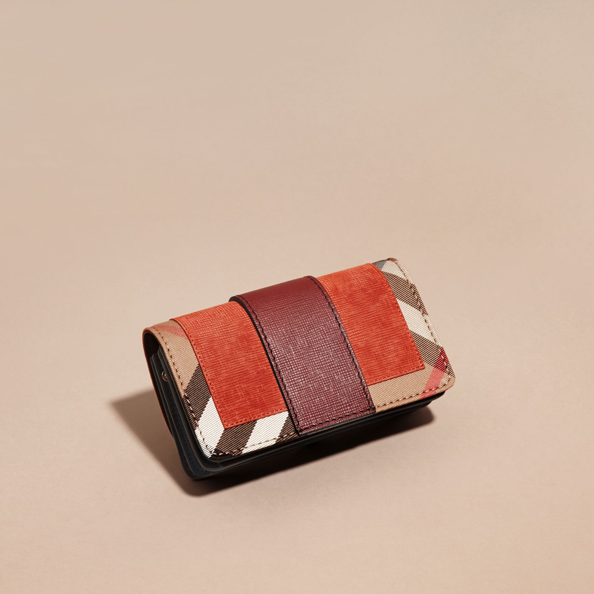 The Small Buckle Bag in Suede and House Check in Burnt Sienna - gallery image 5