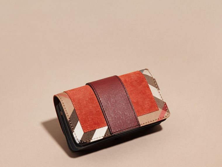 The Small Buckle Bag in Suede and House Check in Burnt Sienna - cell image 4
