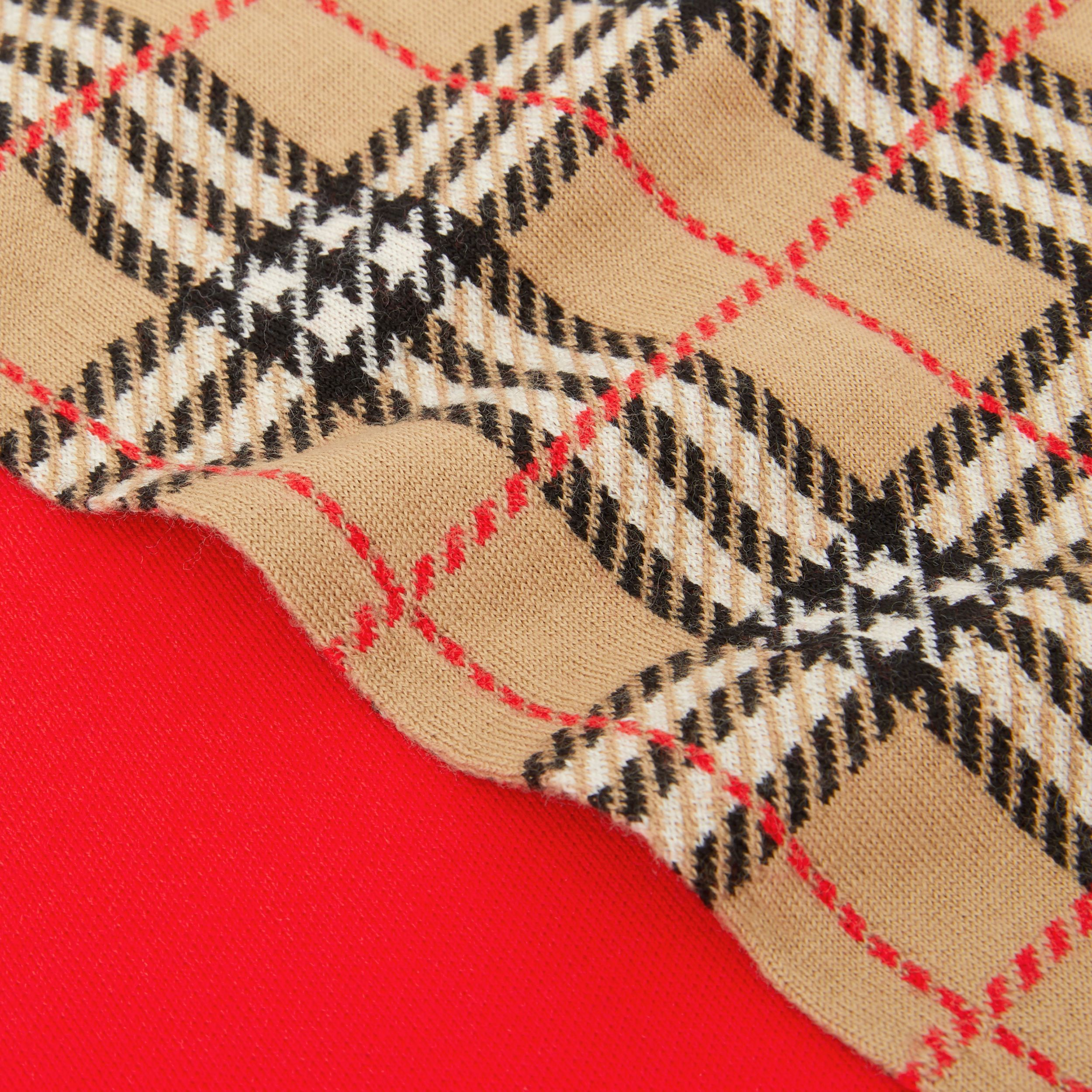 Colour Block Check Merino Wool Jacquard Scarf in Bright Red - Children | Burberry - 2