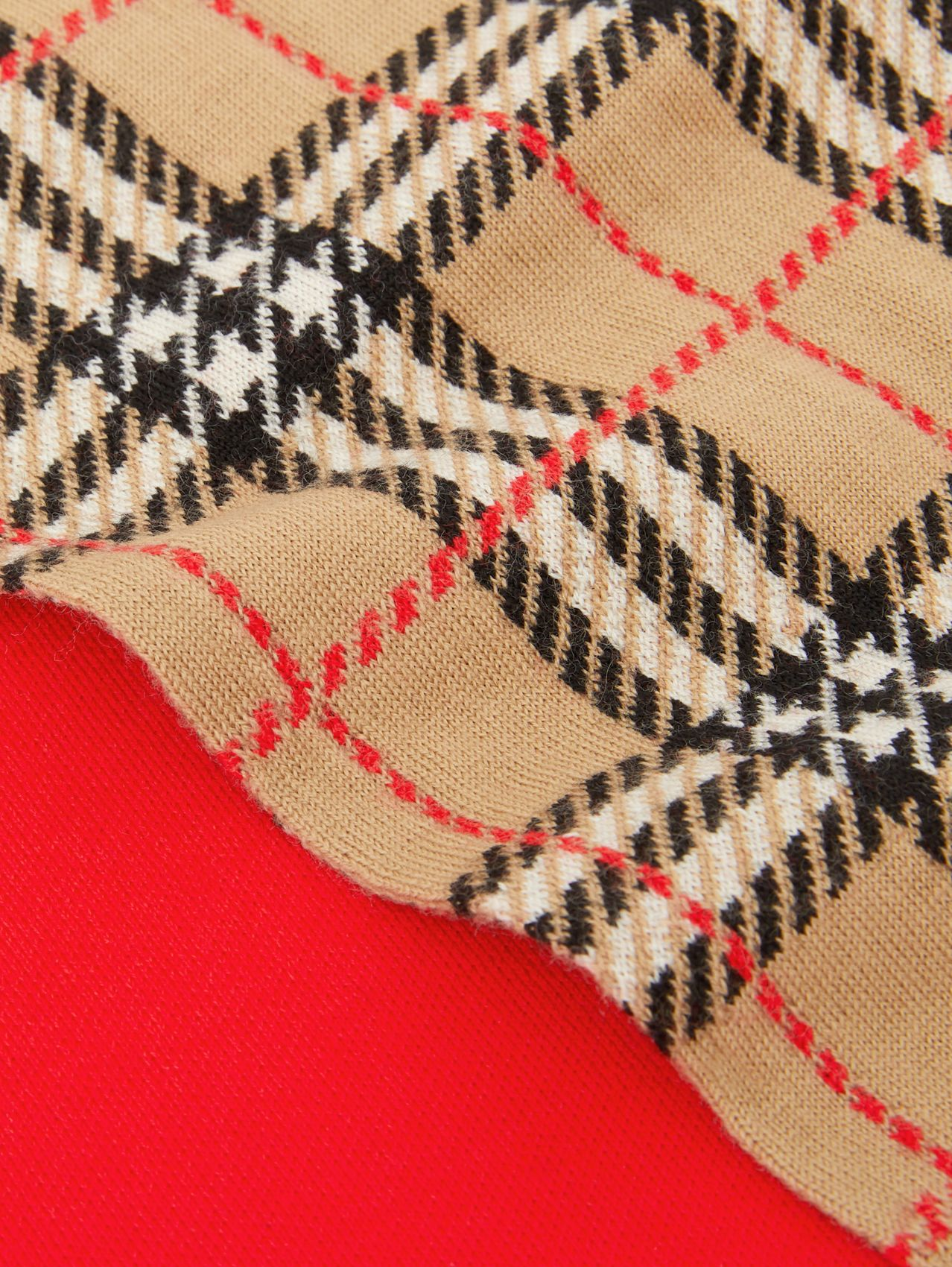 Colour Block Check Merino Wool Jacquard Scarf in Bright Red