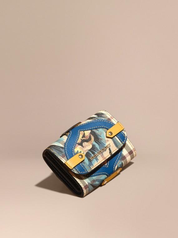 Porte-cartes à motif Haymarket check avec imprimé à pivoines roses et appliqué en cuir Bleu Minéral