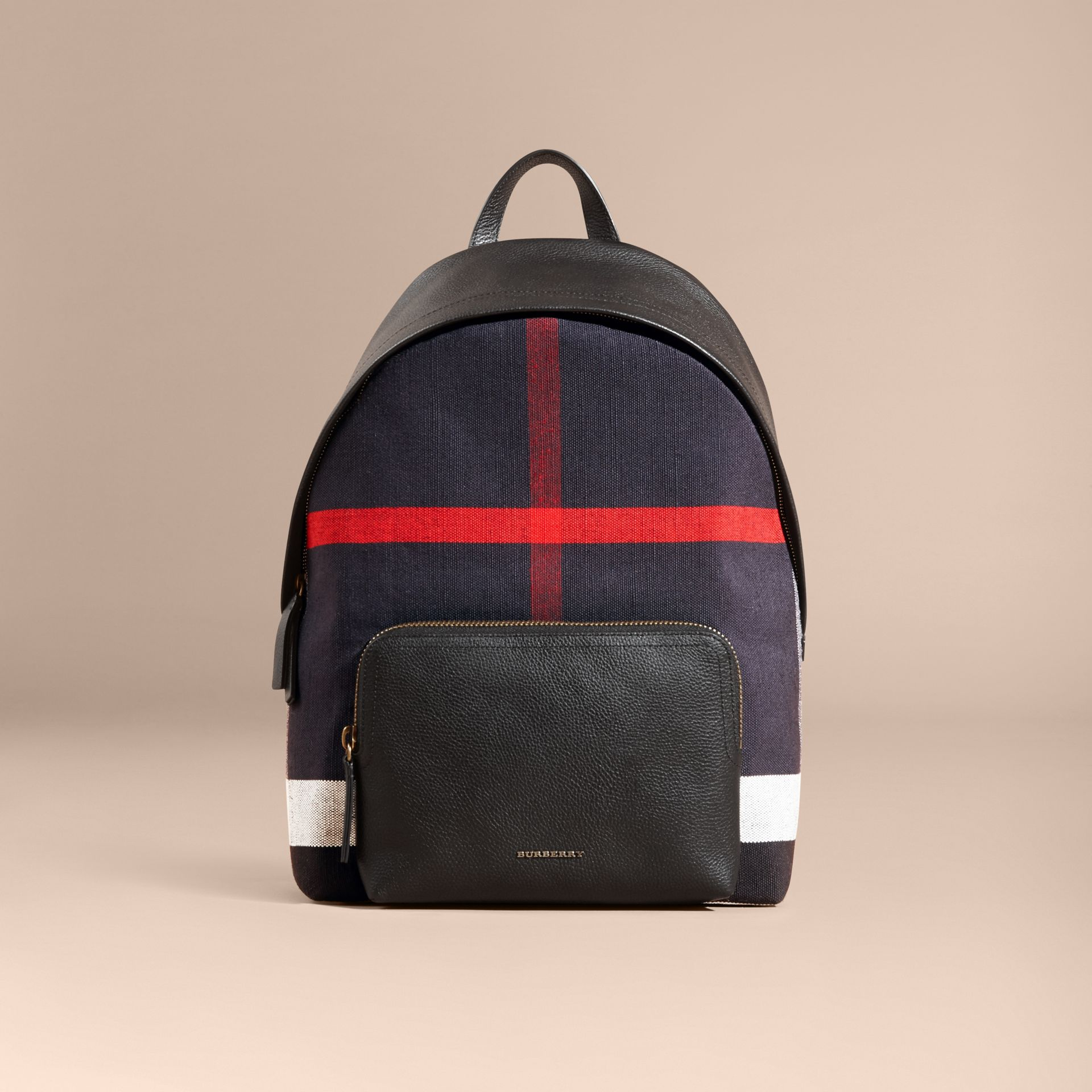 Black Canvas Check and Leather Backpack - gallery image 8