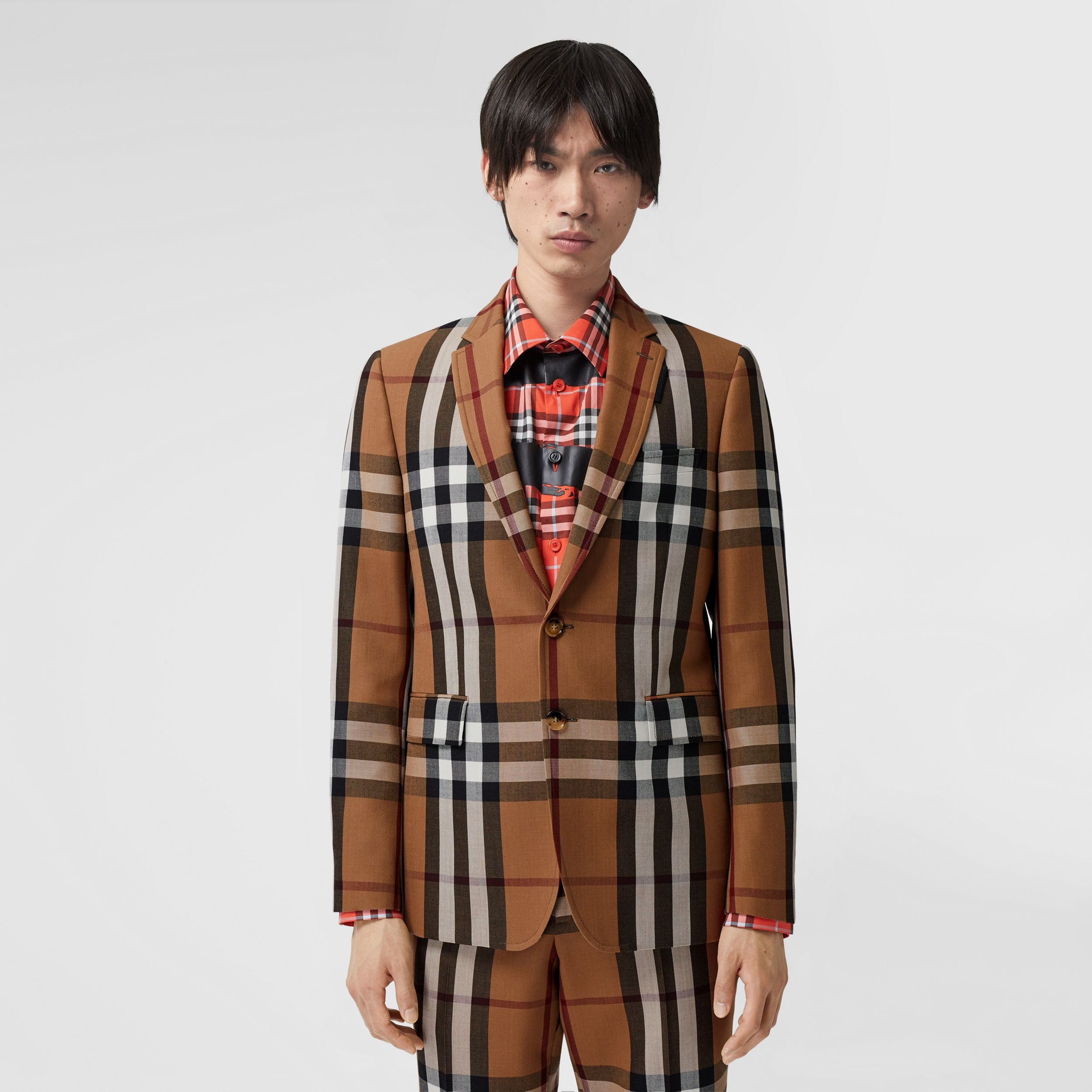Slim Fit Check Wool Tailored Jacket in Birch Brown - Men | Burberry - 1