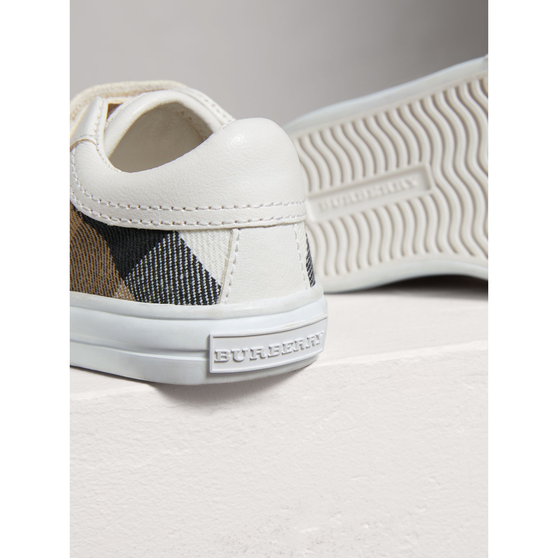 House Check and Leather Trainers in Optic White | Burberry - gallery image 1