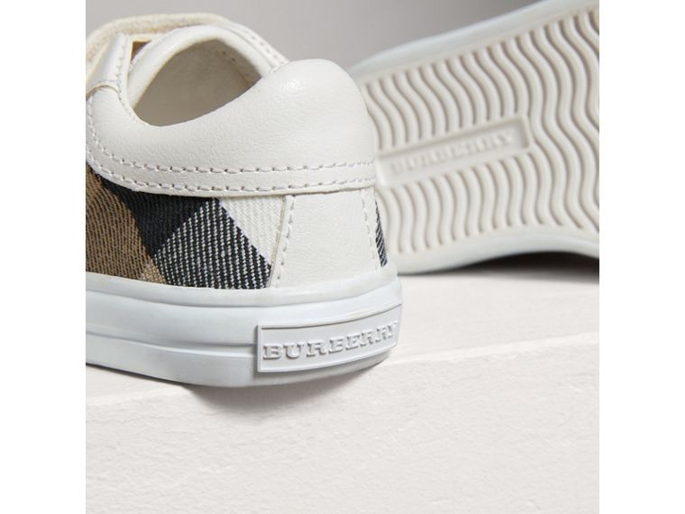 House Check and Leather Trainers in Optic White | Burberry - cell image 1