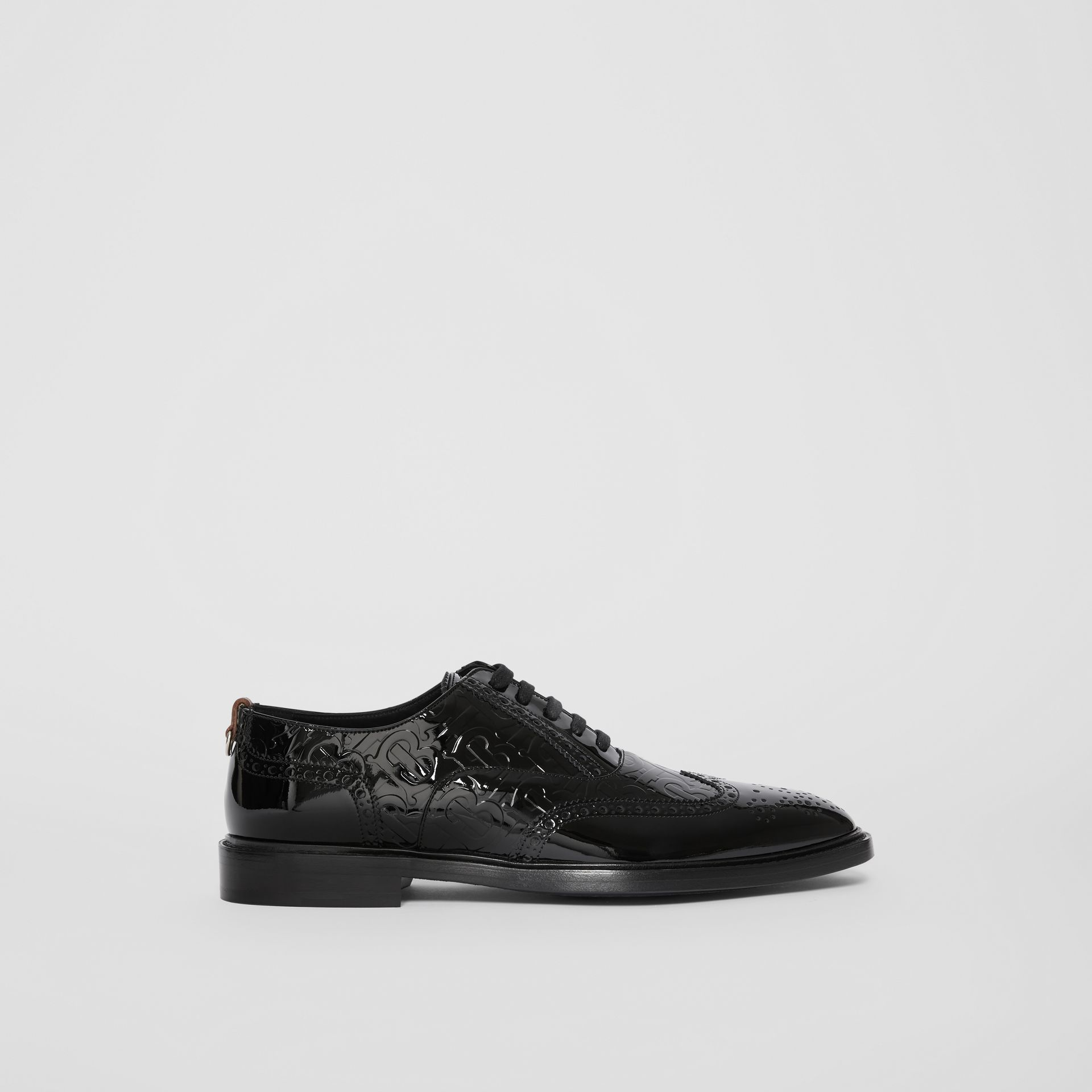 D-ring Detail Monogram Patent Leather Brogues in Black - Men | Burberry - gallery image 5