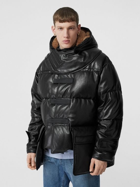 Plonge Lambskin Puffer Jacket in Black