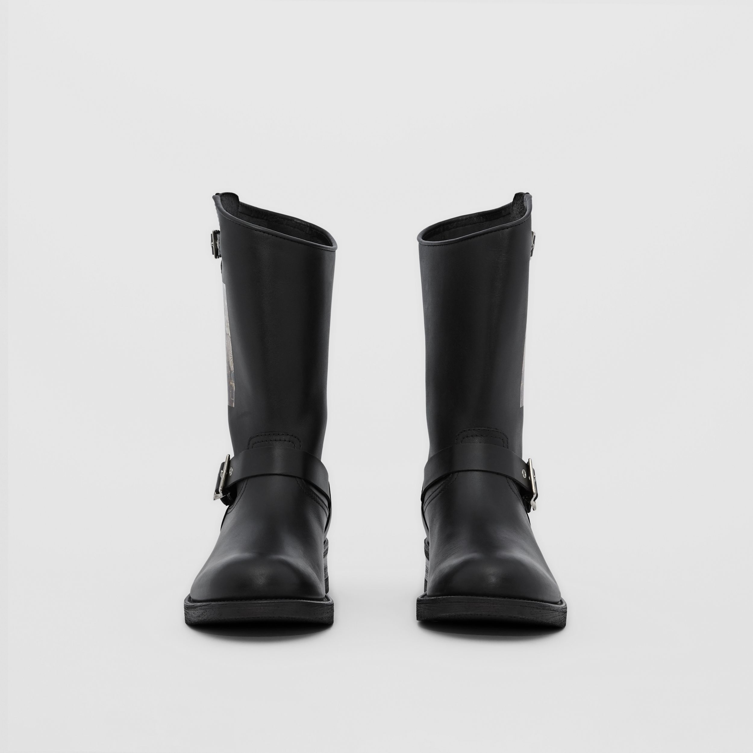 Montage Print Leather Biker Boots in Black - Men | Burberry Singapore - 3