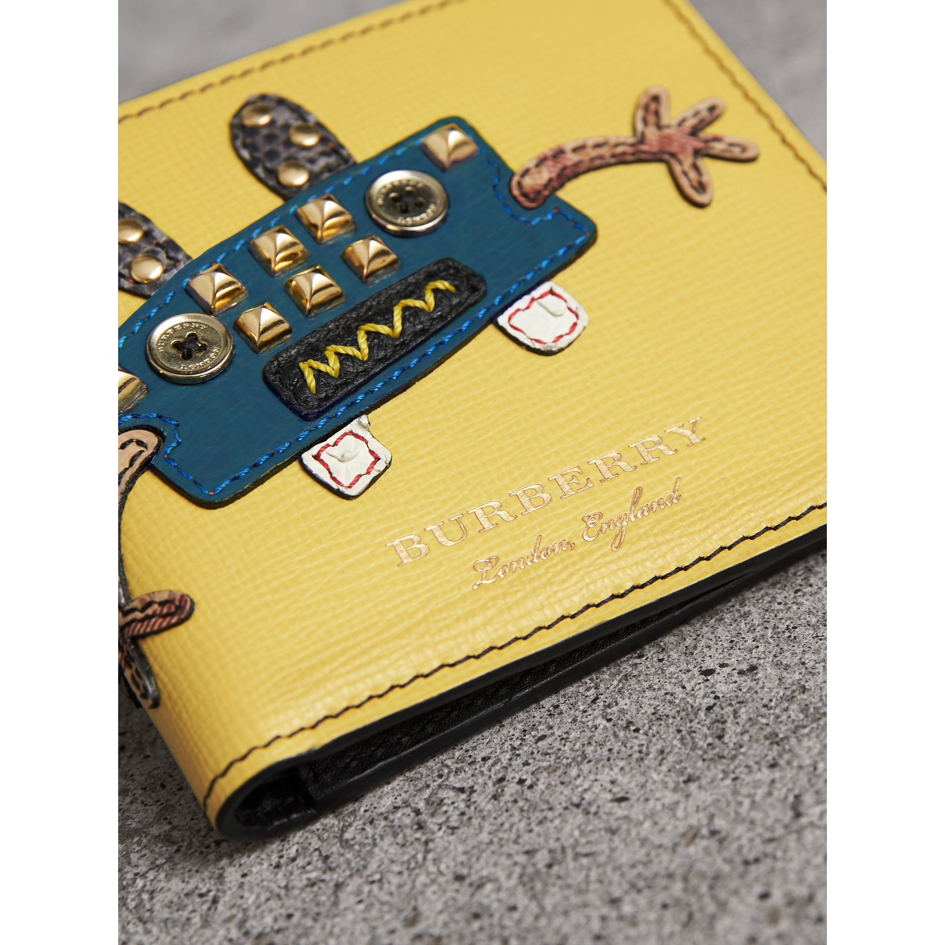 Creature Appliqué Leather International Bifold Wallet in Ochre Yellow - Men | Burberry - gallery image 2
