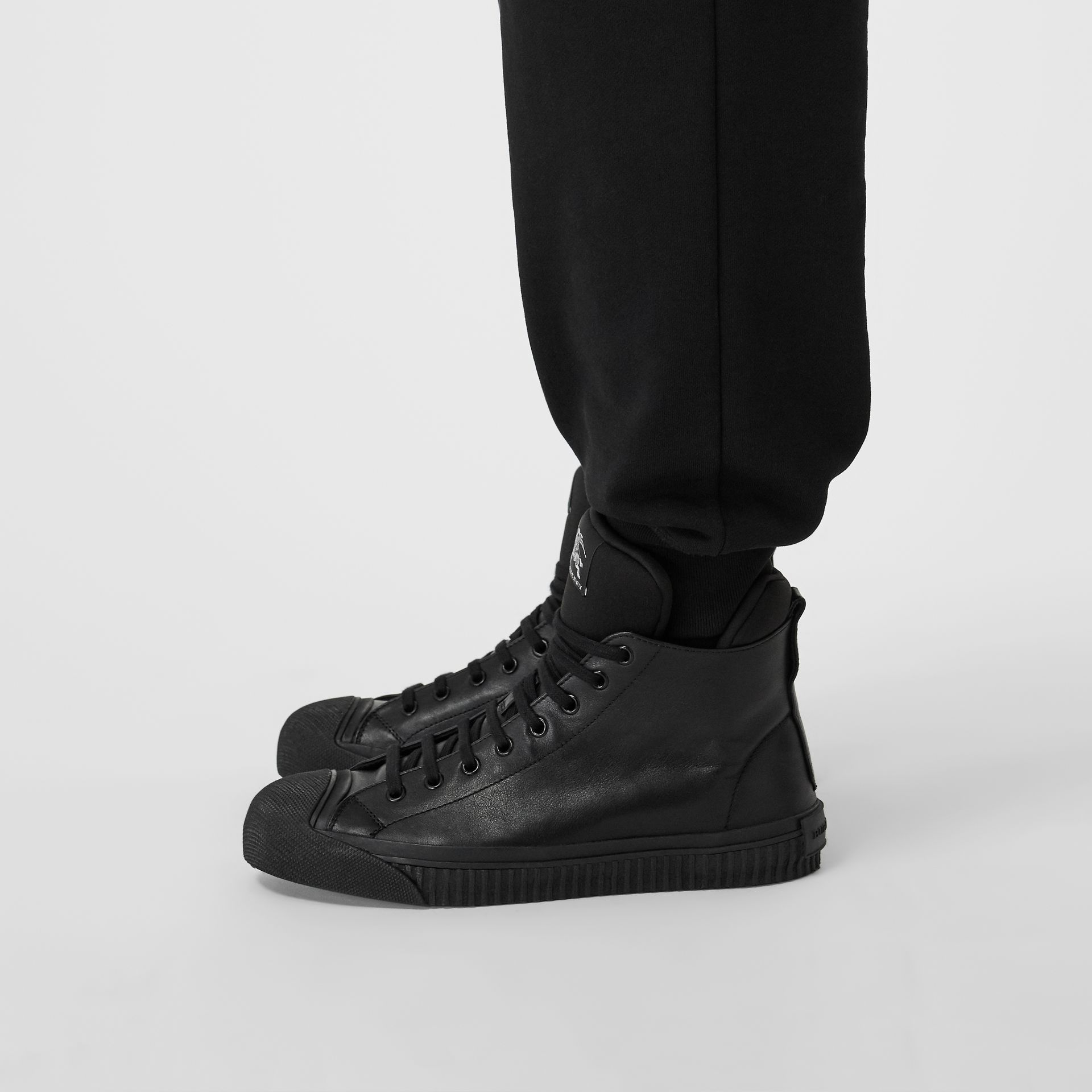 Leather and Neoprene High-top Sneakers in Black - Men | Burberry - gallery image 2