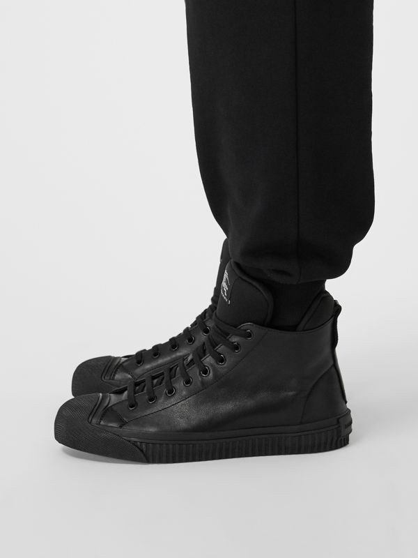 Leather and Neoprene High-top Sneakers in Black - Men | Burberry Australia - cell image 2