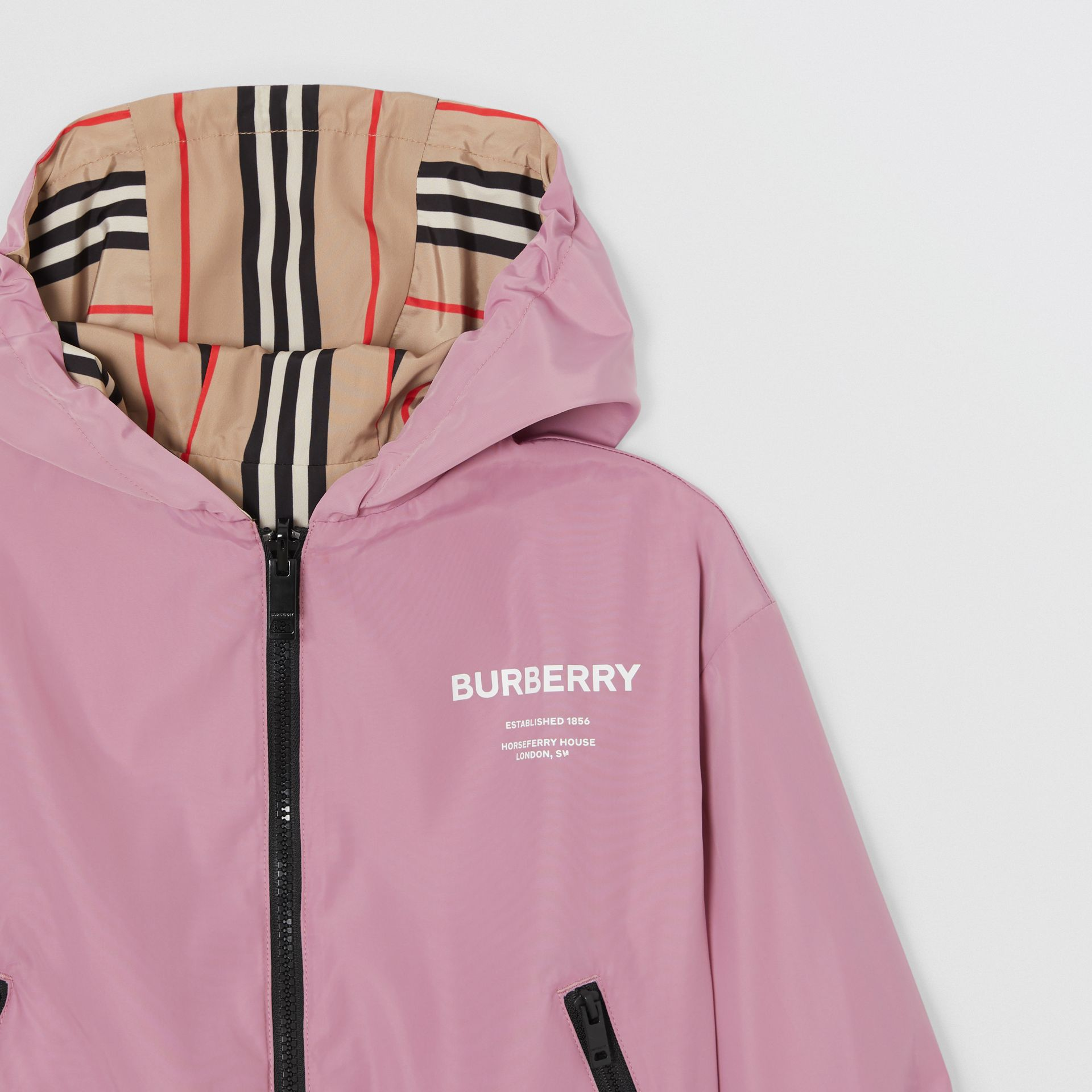Reversible Icon Stripe Hooded Jacket in Pale Mauve | Burberry United Kingdom - gallery image 5