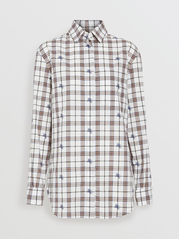 Fil Coupé Check Cotton Shirt in Parchment - Women | Burberry - cell image 3