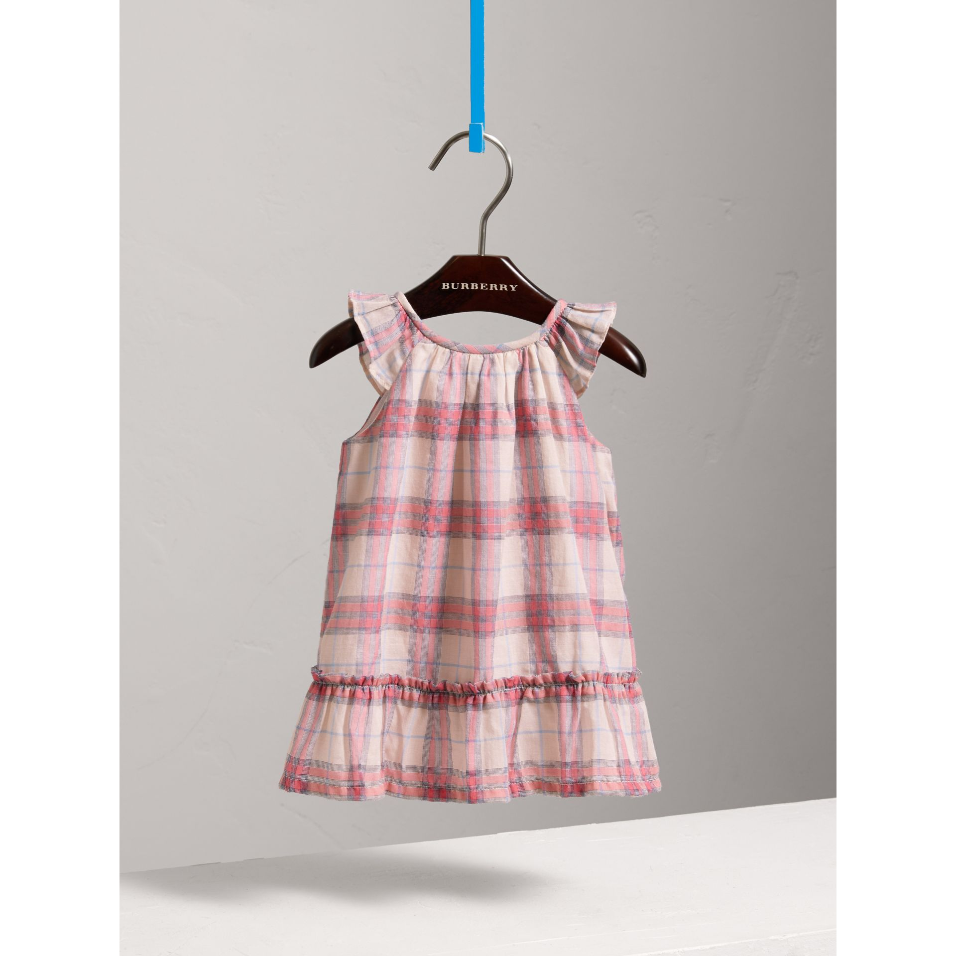 Gathered Check Cotton A-line Dress in Bright Coral Pink - Children | Burberry - gallery image 0