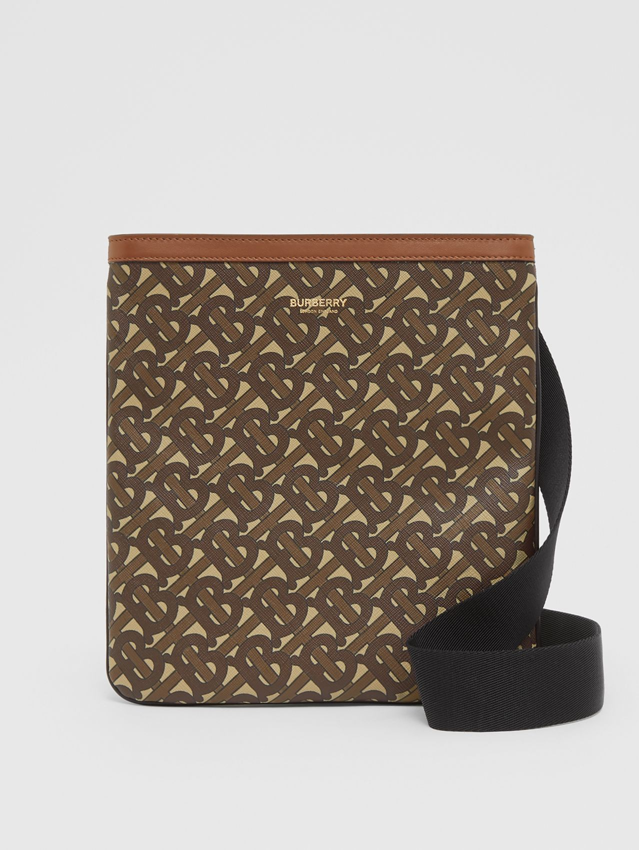 Monogram Print E-canvas Crossbody Bag in Bridle Brown
