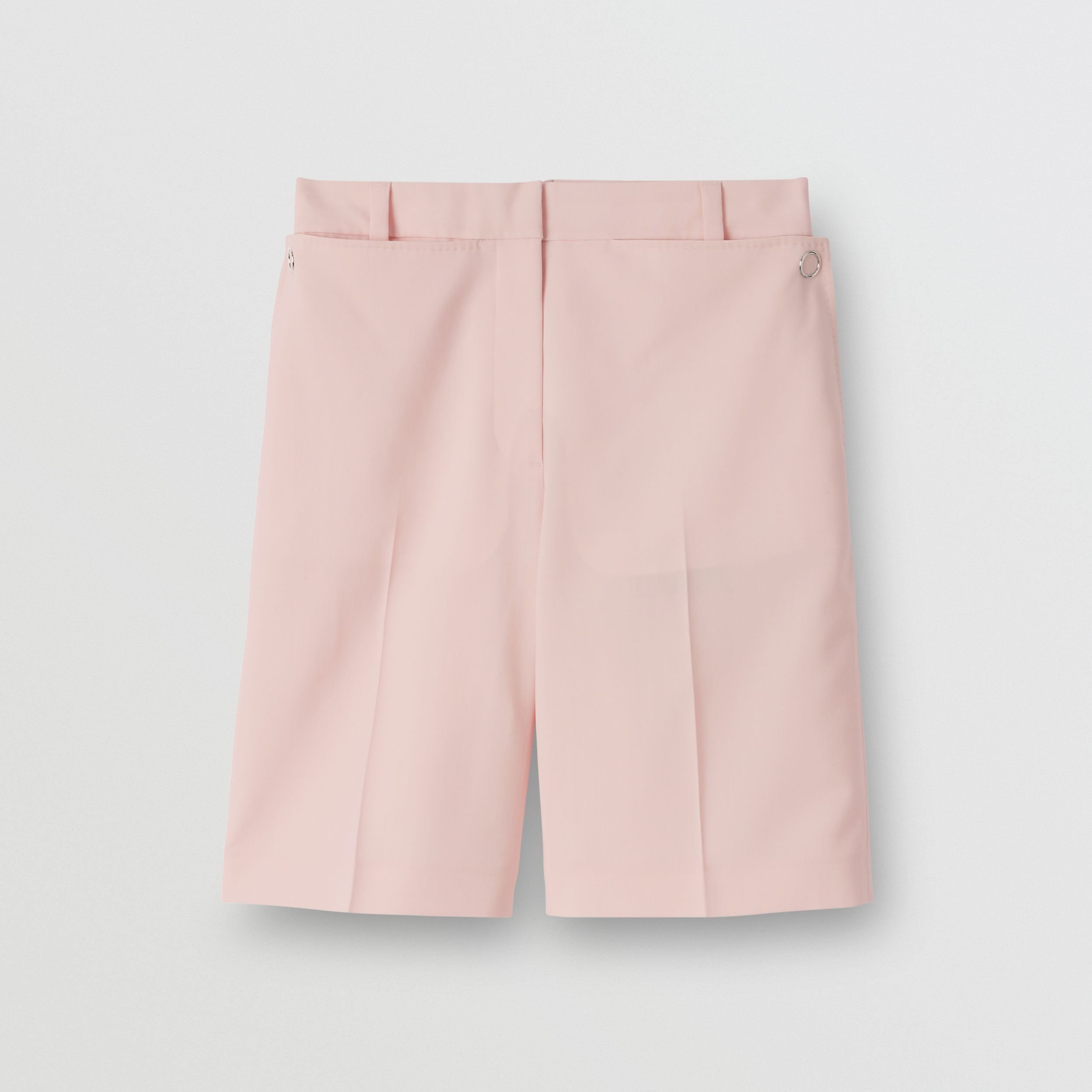 Pocket Detail Tumbled Wool Tailored Shorts in Soft Pink - Women | Burberry - 4