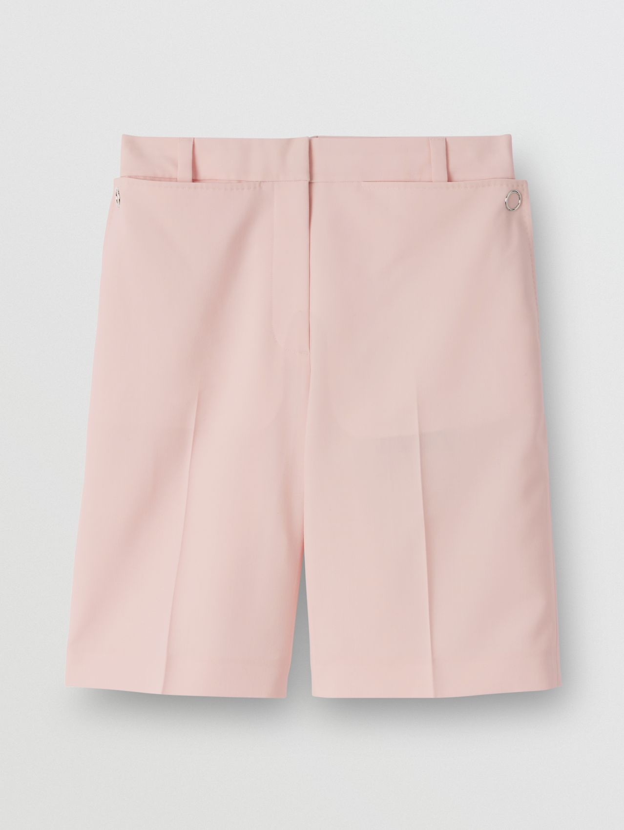 Pocket Detail Tumbled Wool Tailored Shorts in Soft Pink