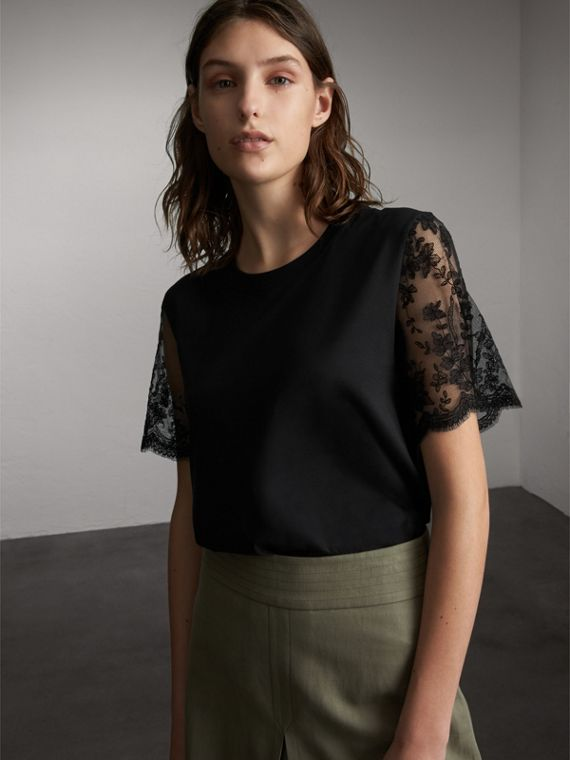 Cotton T-Shirt with Embroidered Tulle Sleeves