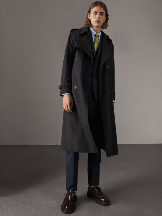Trench coat de cashmere (Grafite Mesclado)