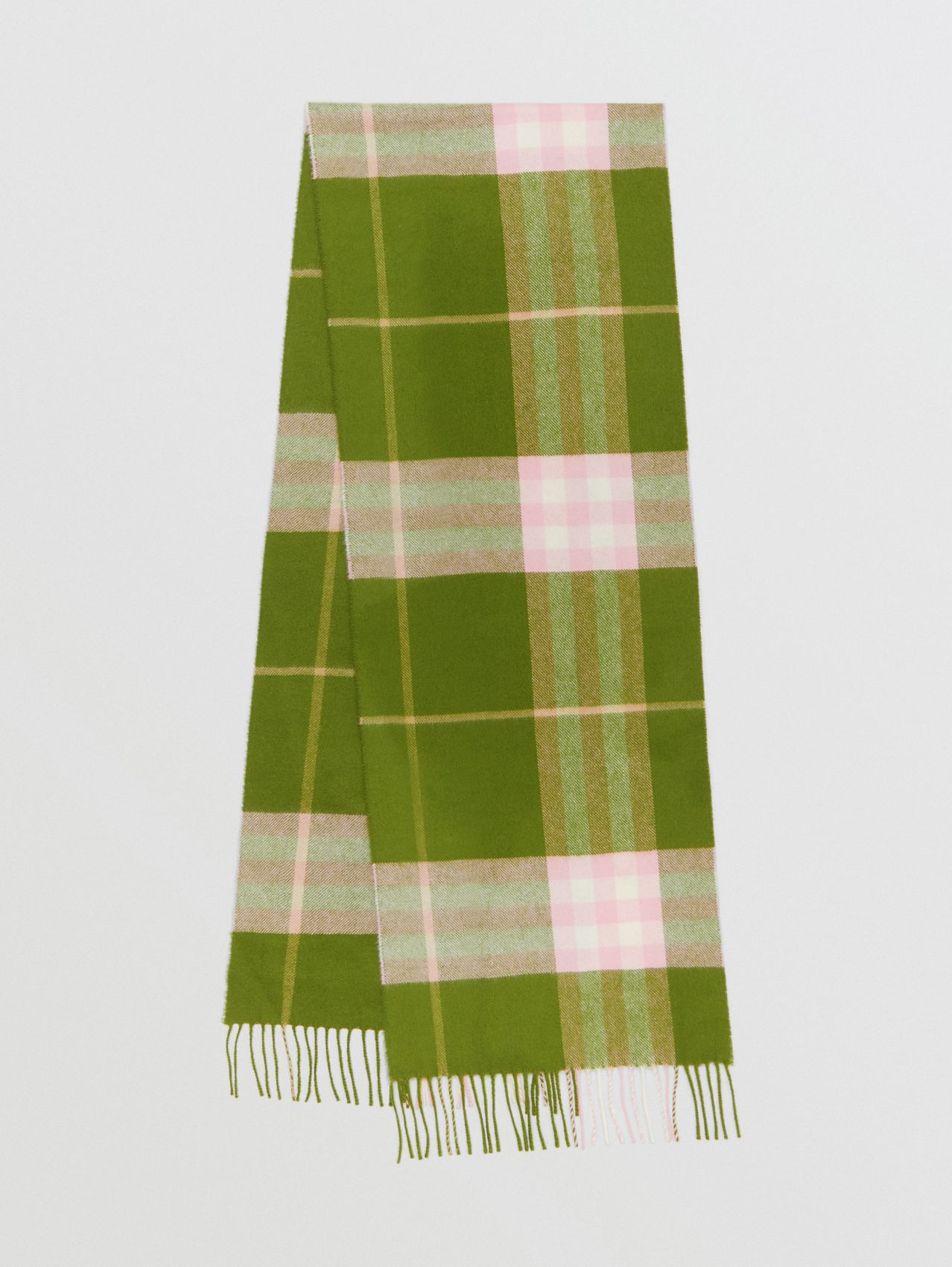 The Classic Check Cashmere Scarf in Cedar Green