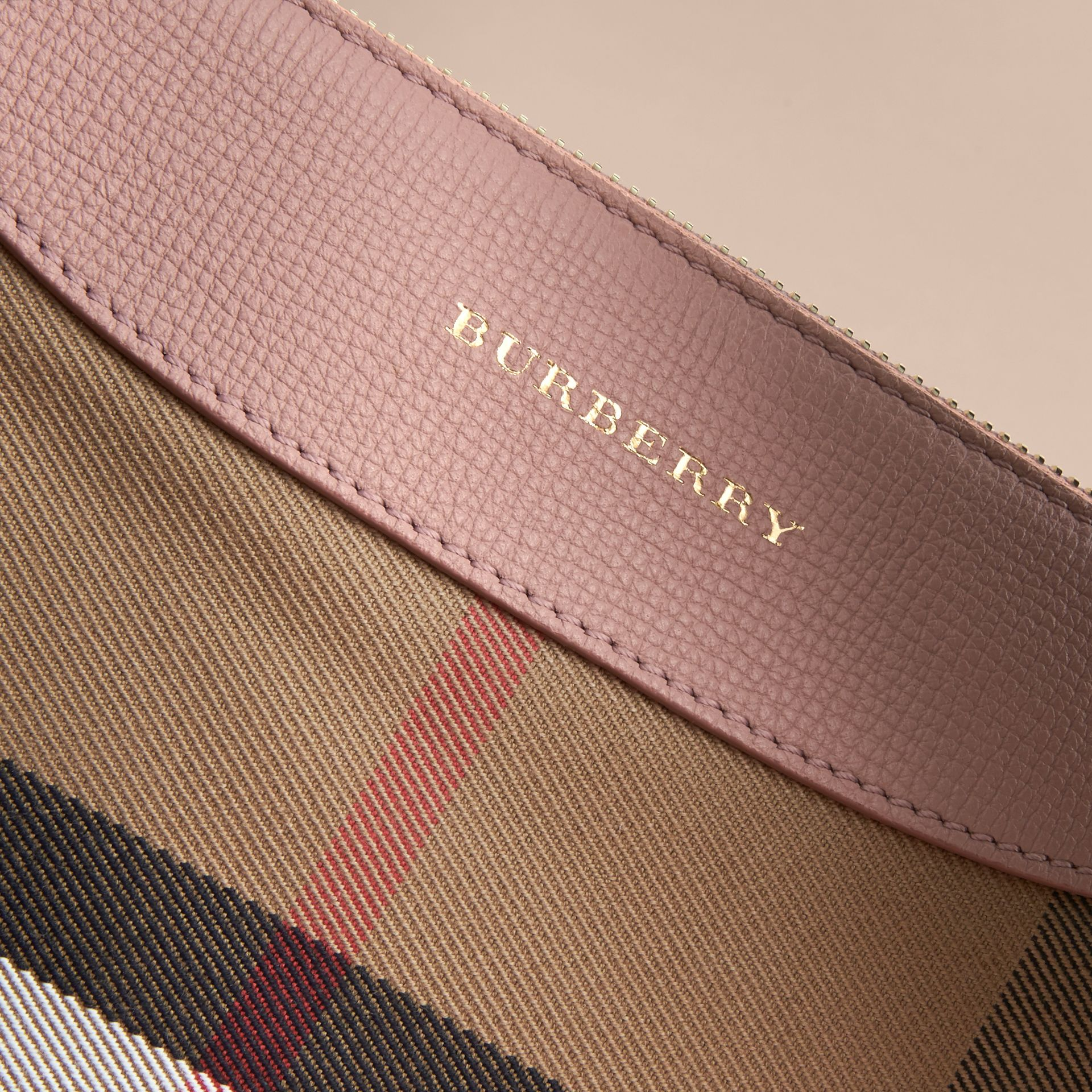 House Check and Leather Crossbody Bag in Pale Orchid | Burberry - gallery image 2