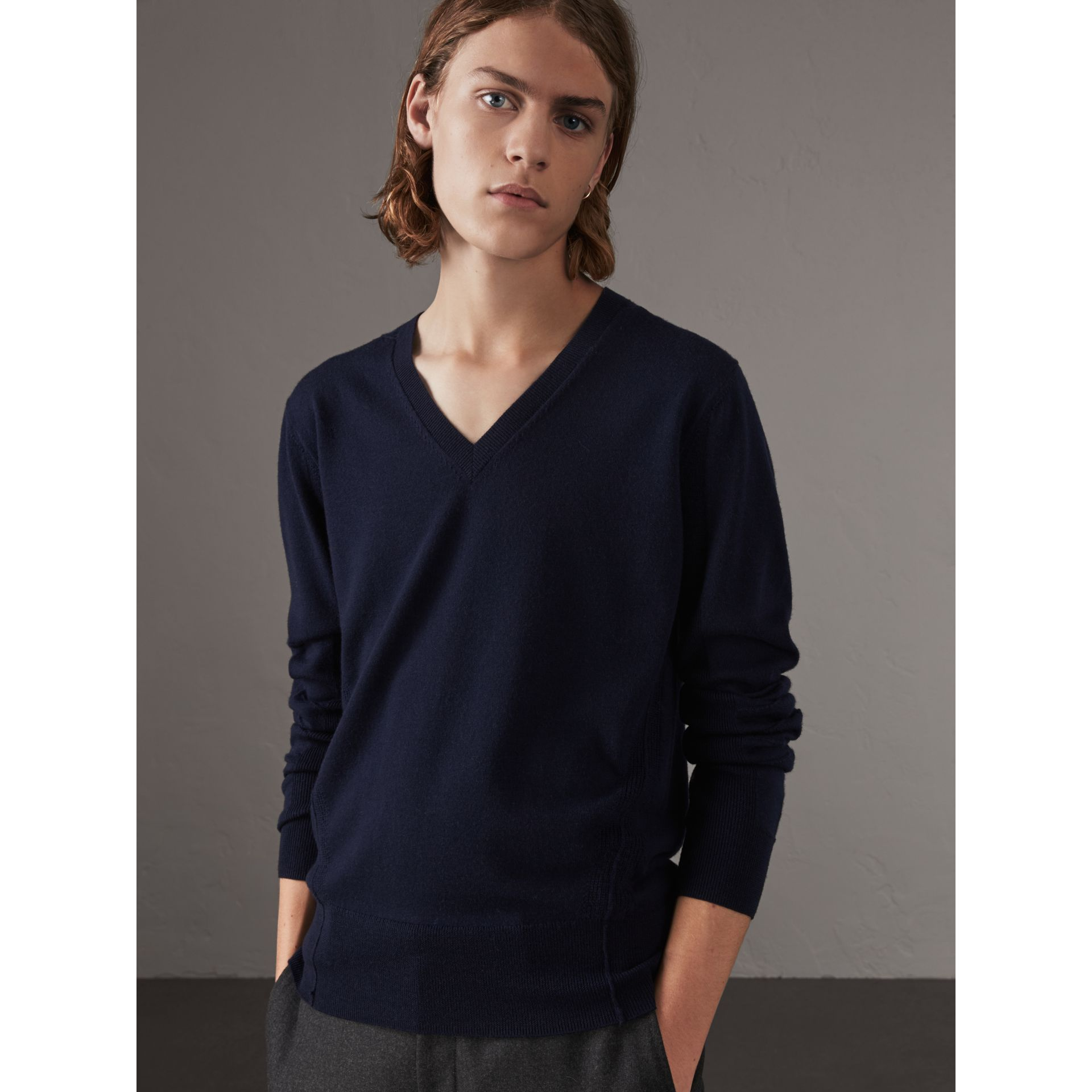 Check Detail Merino Wool V-neck Sweater in Navy - Men | Burberry - gallery image 1