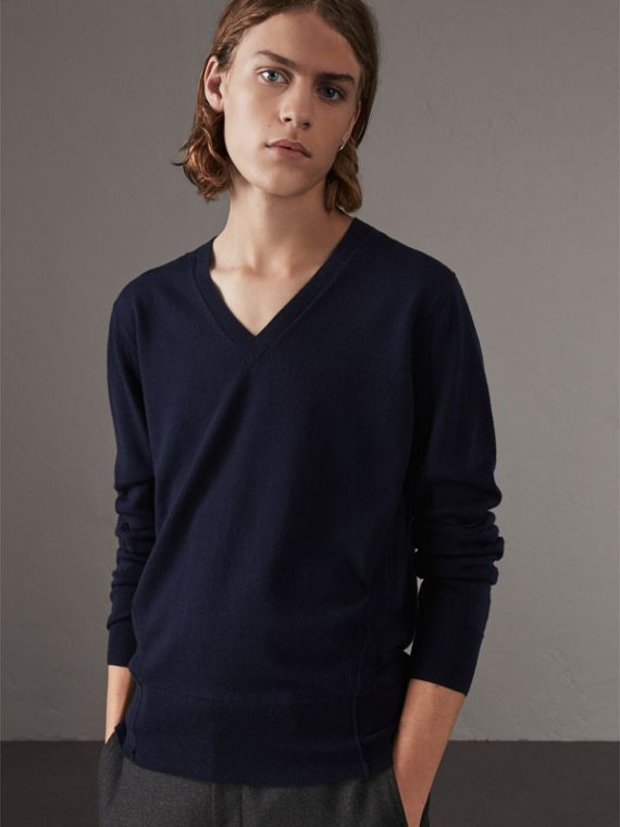 Check Detail Merino Wool V-neck Sweater in Navy