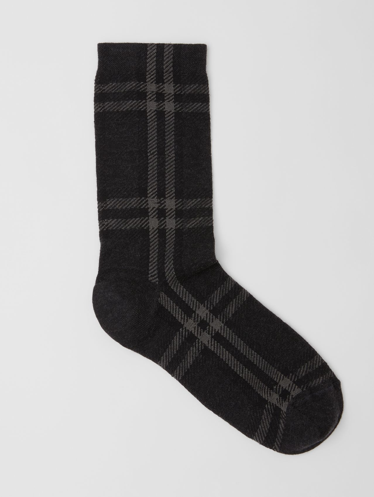 Check Intarsia Technical Cotton Socks in Dark Charcoal