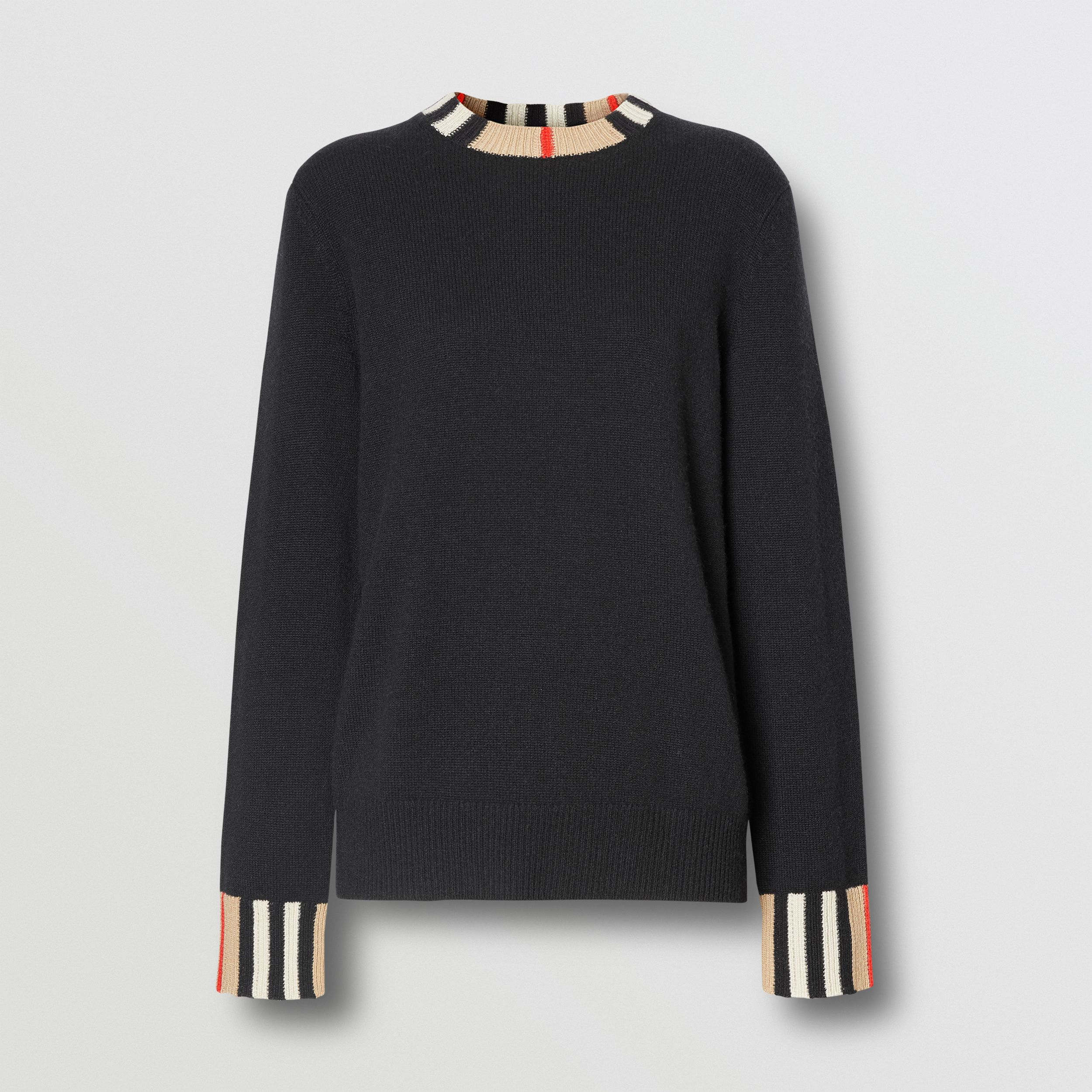 Icon Stripe Trim Cashmere Sweater in Black - Women | Burberry - 4
