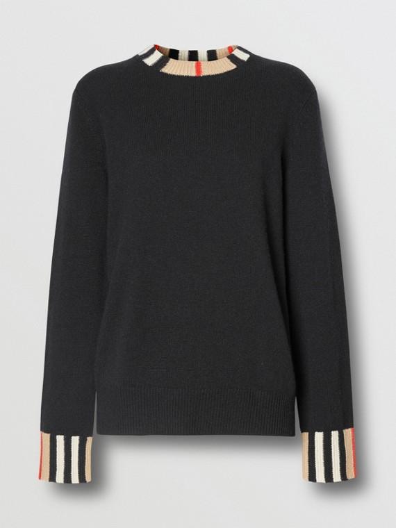 Icon Stripe Trim Cashmere Sweater in Black
