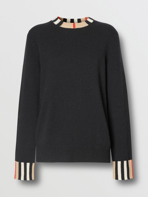 Icon Stripe Trim Cashmere Sweater in Black - Women | Burberry - cell image 3