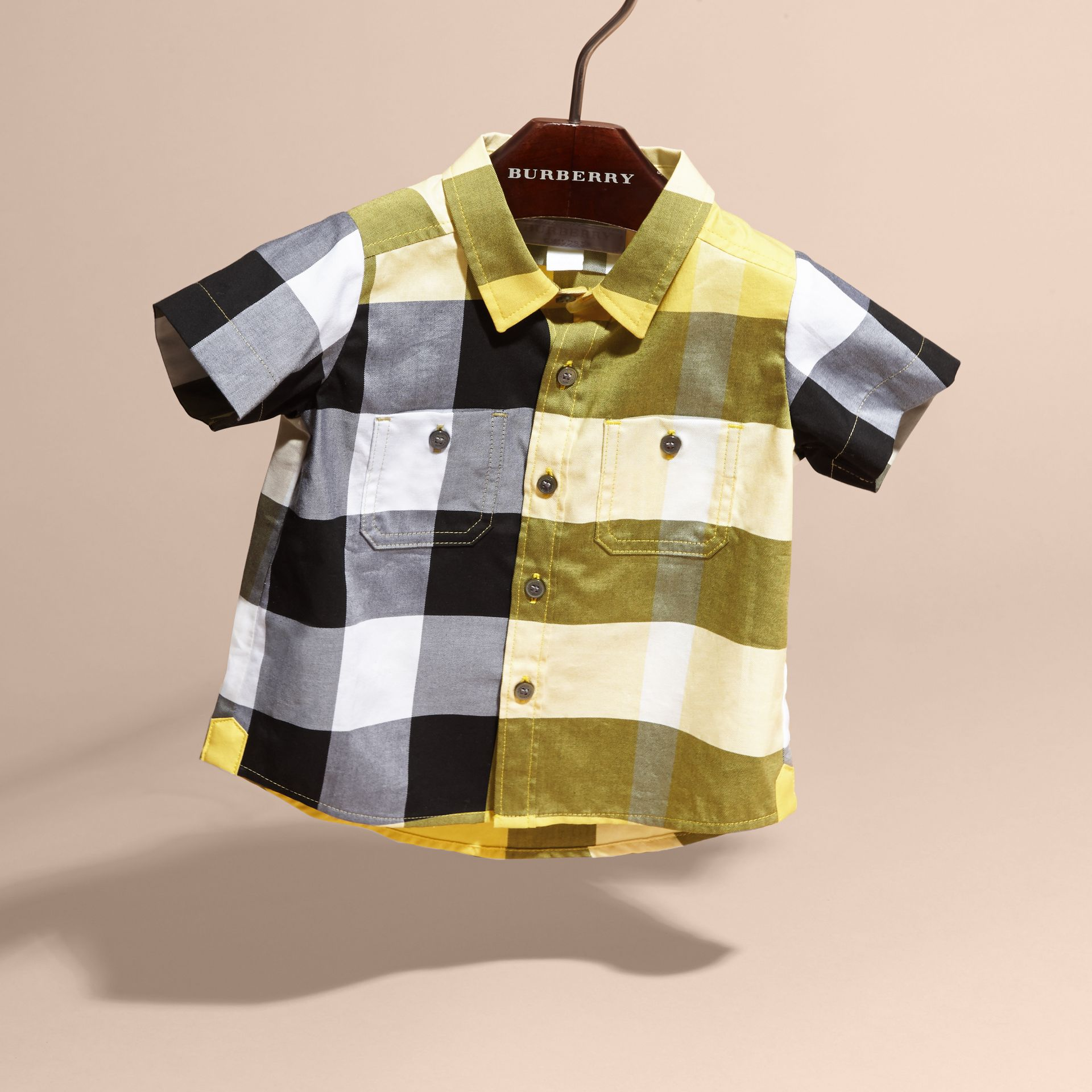Short-sleeve Check Cotton Shirt in Bright Yellow - gallery image 3