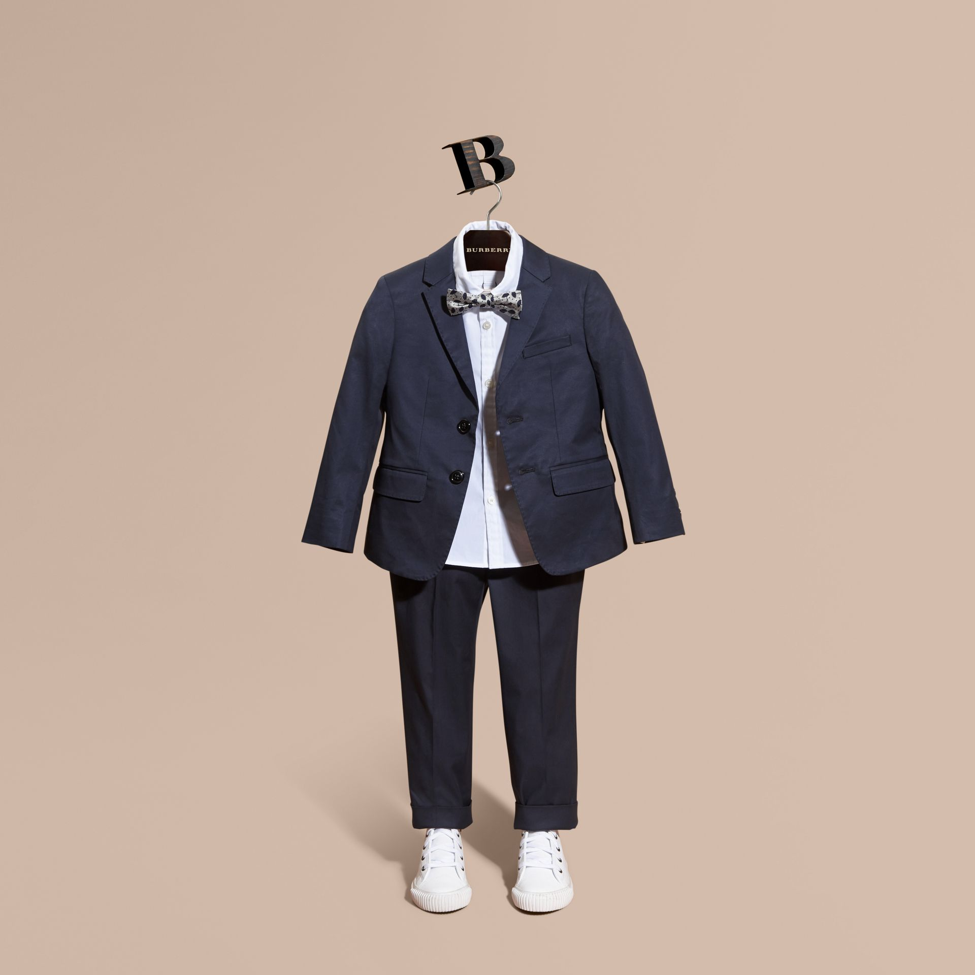 Tailored Stretch Cotton Blazer in Navy - Boy | Burberry Canada - gallery image 1
