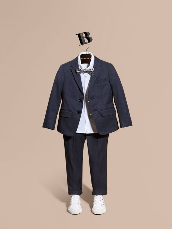 Tailored Stretch Cotton Blazer Navy