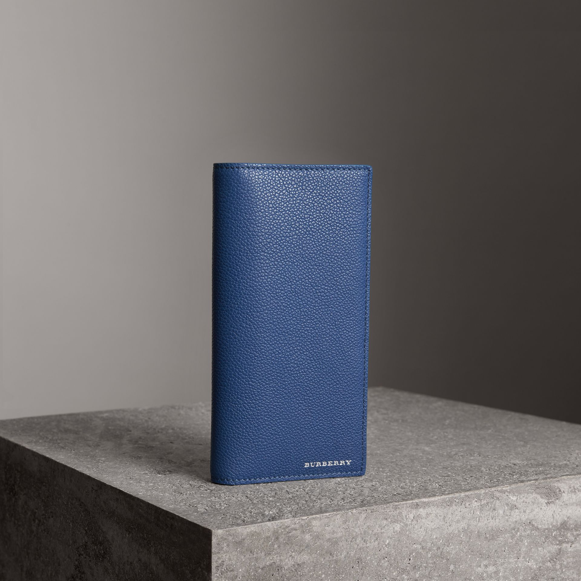 Grainy Leather Continental Wallet in Bright Ultramarine - Men | Burberry - gallery image 0
