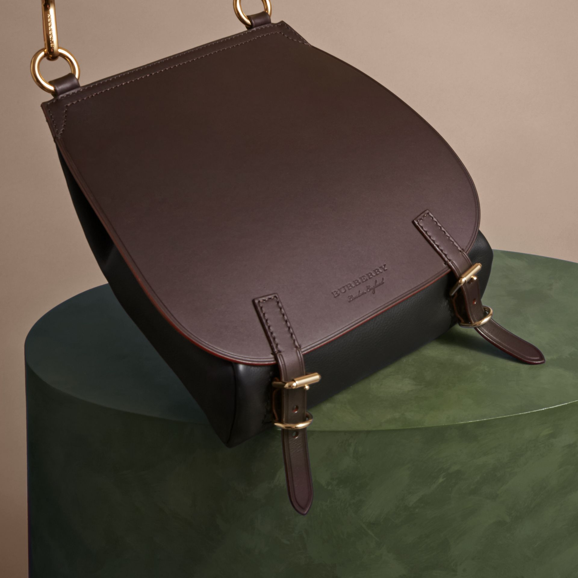Wine The Small Bridle Bag in Leather - gallery image 7
