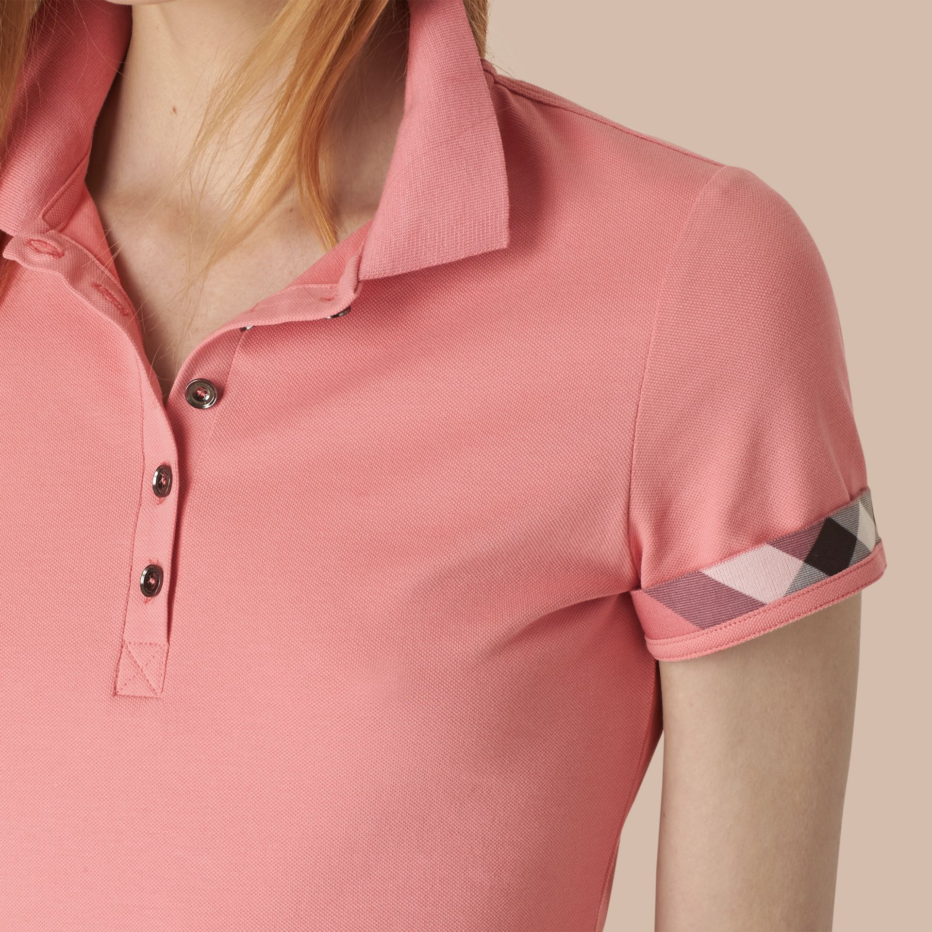 Check Trim Stretch Cotton Piqué Polo Shirt Carnation Pink - gallery image 2