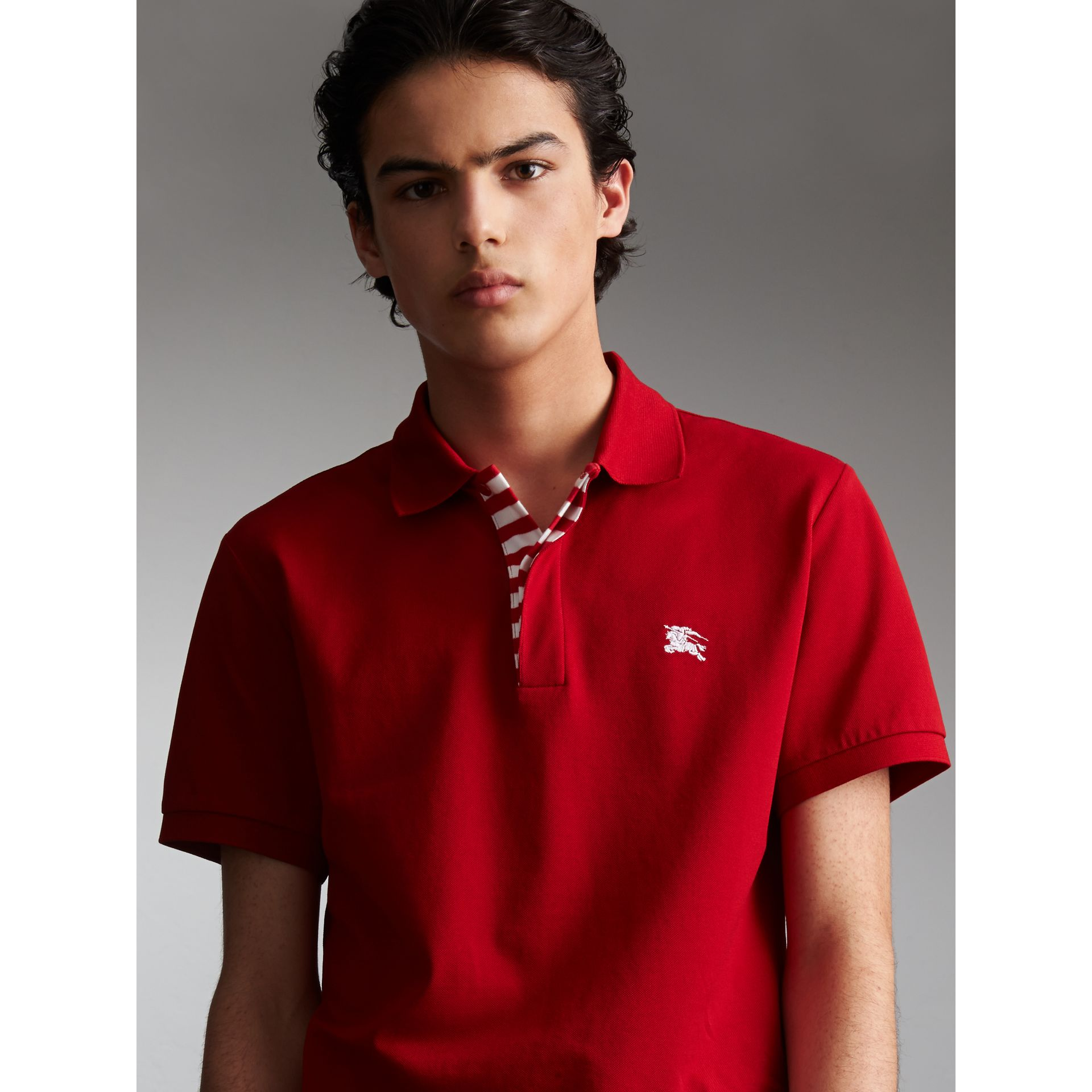 Striped Placket Cotton Piqué Polo Shirt in Military Red - Men | Burberry - gallery image 6