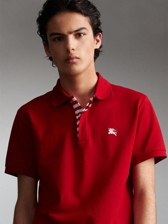 Striped Placket Cotton Piqué Polo Shirt in Military Red - Men | Burberry Australia
