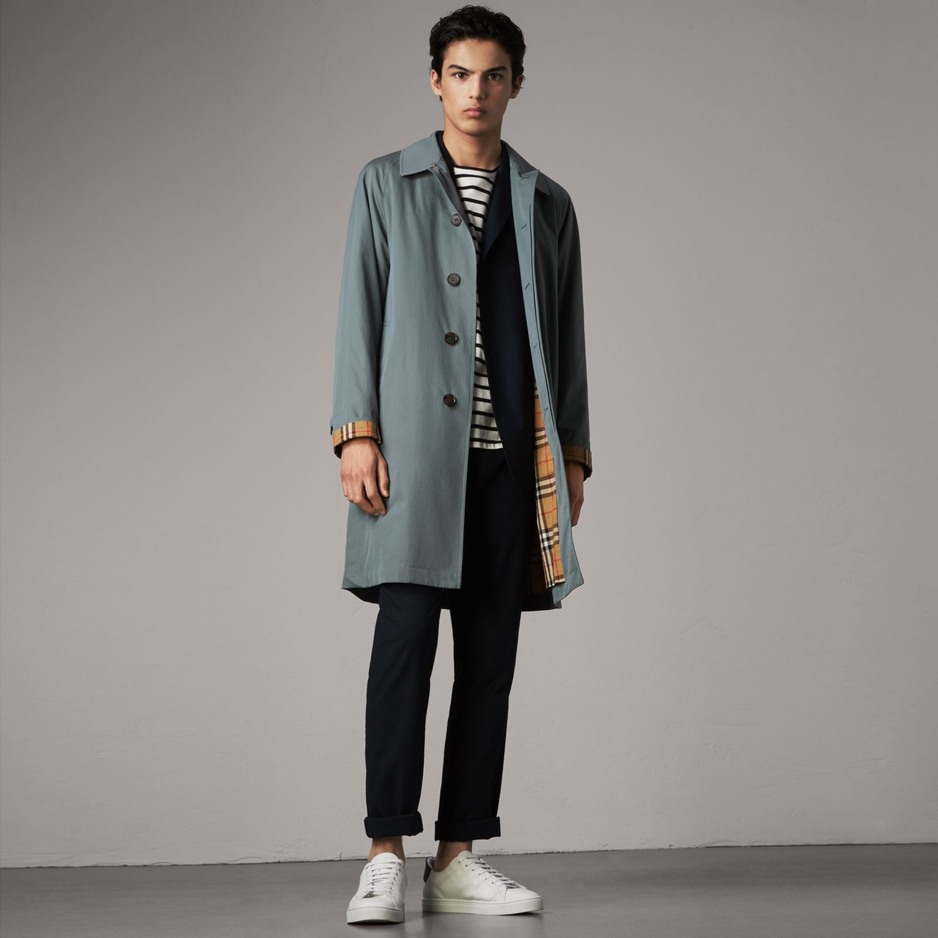 The Camden – Long Car Coat in Dusty Blue - Men | Burberry Australia - gallery image 0