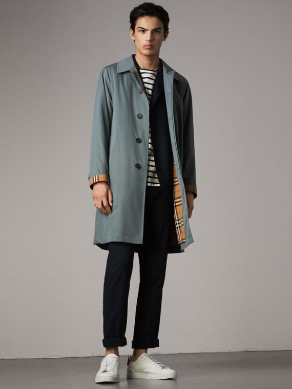 The Camden Car Coat in Dusty Blue