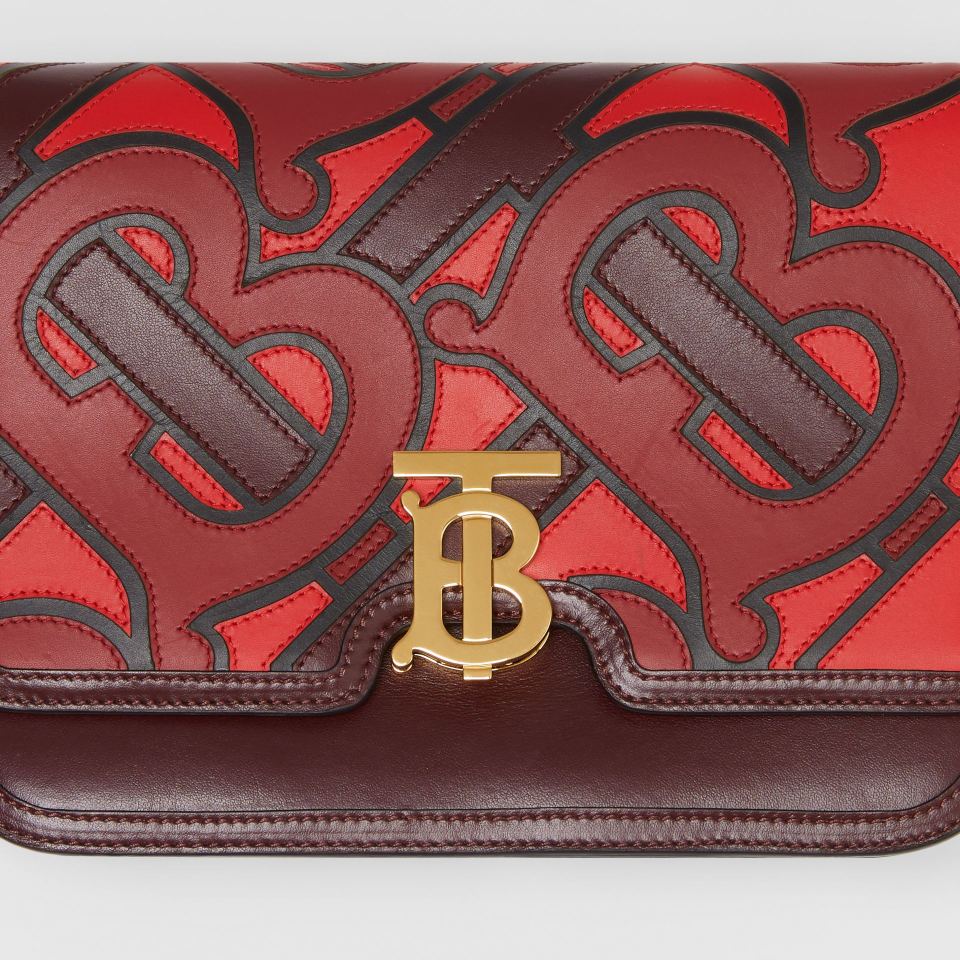 Medium Monogram Appliqué Leather TB Bag in Oxblood - Women | Burberry Singapore - gallery image 1
