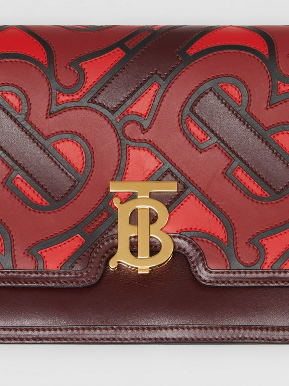 Medium Monogram Appliqué Leather TB Bag in Oxblood - Women | Burberry United Kingdom - cell image 1